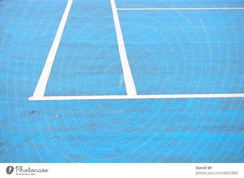 Linie auf einem Sportplatz Linien Markierung Markierungslinie blau Begrenzung Felder Sportstätten Spielfeld Streifen Platzhalter