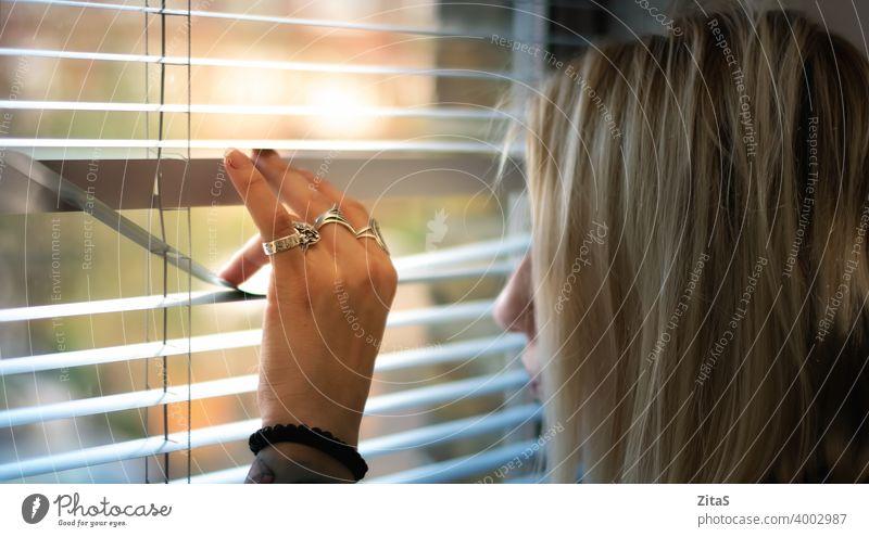 Blonde Frau späht durch die Jalousien blond guckend Blick Aussehen Fenster blind neugierig Innenbereich Person Hand Leben Tag Fensterläden Denken spionieren