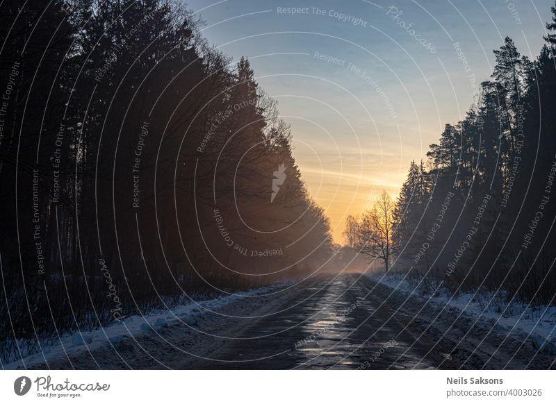 beschädigte Asphalt Landstraße durch Wald in schönen nebligen Sonnenaufgang Winter Straße Schnee Landschaft kalt Baum Natur Himmel weiß Frost Bäume