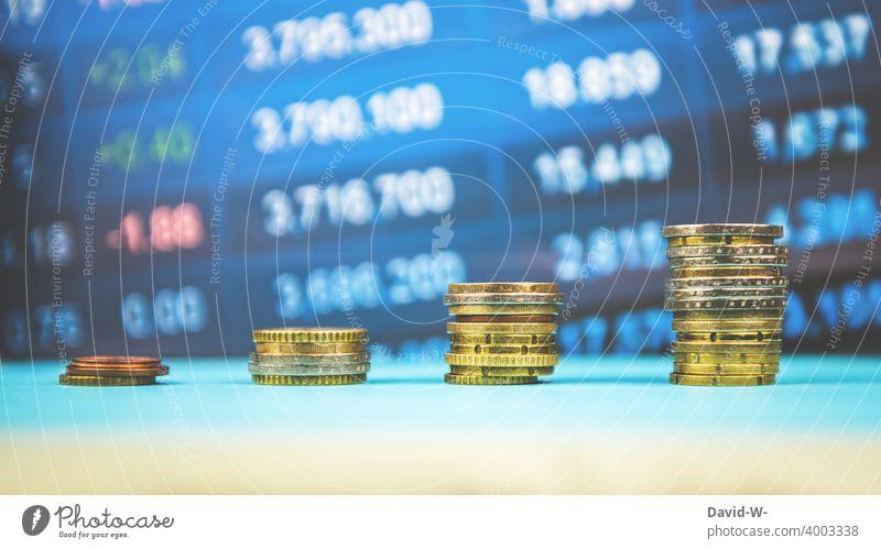 Börse und Aktien - steigend Geld Erfolg infaltion Kapitalwirtschaft Zahlen Reichtum Kaptial Euro €