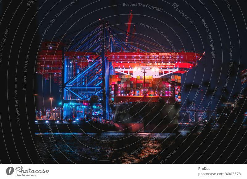 Containerterminal Burchardkai bei Nacht Hamburg Hafen Kran Wasserfahrzeug Elbe Fluss Schifffahrt Hamburger Hafen Hafenstadt Güterverkehr & Logistik Industrie