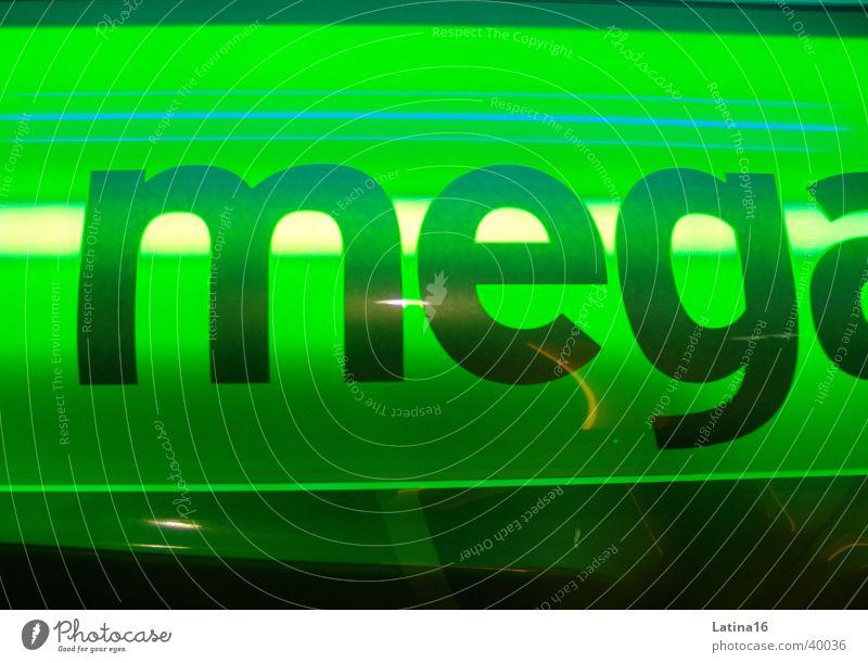 Mega-Sun grün Schriftzeichen Buchstaben Fototechnik Sonnenbank