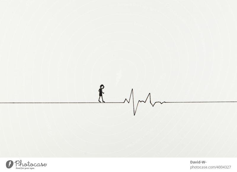 zwischen leben und tod Lebenslinie Hoffnung Gesundheit Krankheit Behandlung Gesundheitswesen zeichnung lebendig Gesundheitszustand diagnose