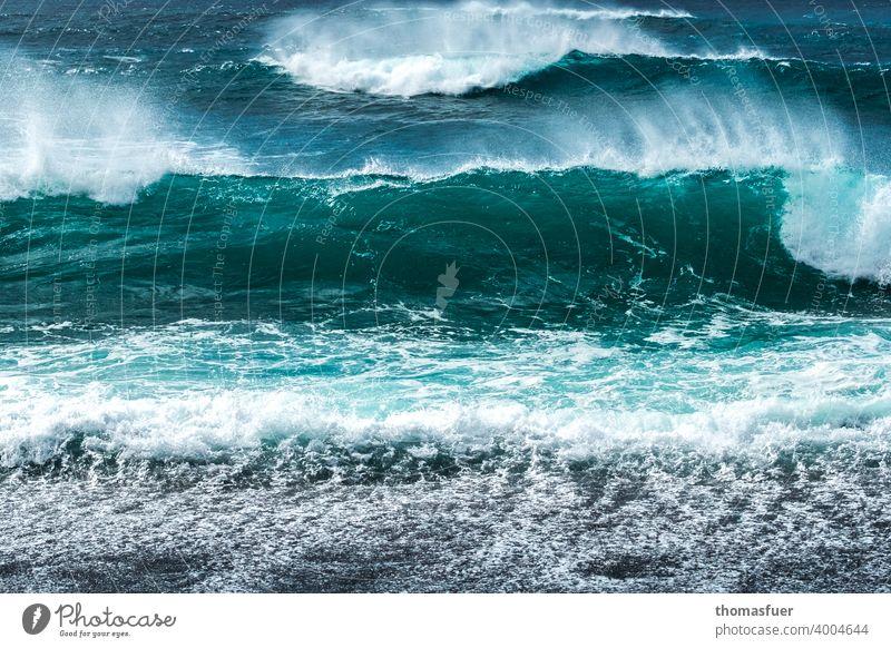Atlantische Brandungswellen mit frischem Wind Wellen Meer Urelemente Himmel Sommer Freiheit Ferne Küste Abenteuer Wetter Klima Außenaufnahme Tag Licht Schatten