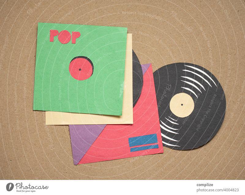 Vinyl Schallplatten - Scherenschnitt achziger Club cassette taperecorder magnetband retro Neunziger Jahre Musik Tonträger Konzert Popmusik orginale früher