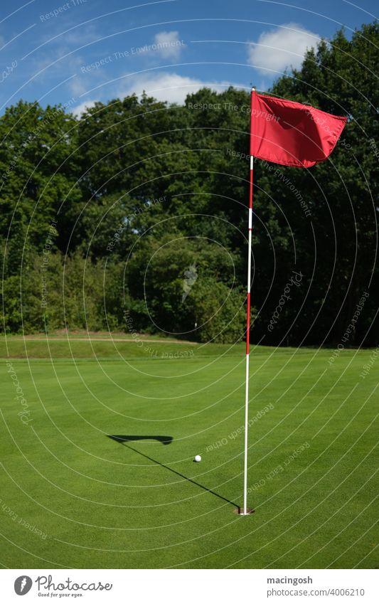 Leerer Golfplatz mit Ball und Fahne leerer Golfplatz Sport Sportplatz Freizeit & Hobby Außenaufnahme Golf spielen Beschränkungen Lockdown Golfsport Green Bunker