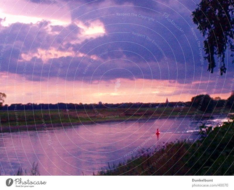 Elbe Wolken Wasser Himme Sonne Abend