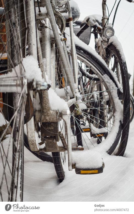 Fahrräder im Schnee Fahrrad Verkehr Sport Straße Fahrradfahren Winter Außenaufnahme Verkehrsmittel Verkehrswege Wege & Pfade Mobilität Stadt Bewegung