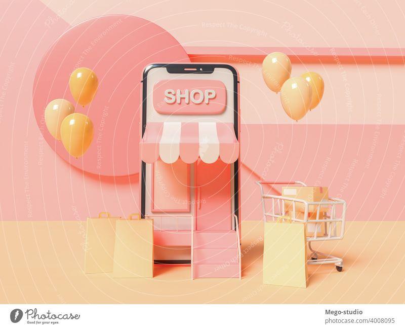 3D-Illustration. Online-Shopping-Konzept. 3d Elektronischer Geschäftsverkehr Smartphone Werkstatt online App Marketing Laden Lebensmittelgeschäft Dienst Medien