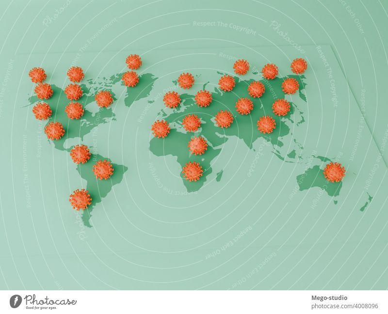 3D-Illustration. Covid-19-Zellen auf einer Weltkarte. 3d covid-19 Landkarte Pandemie Coronavirus Virus Medizin Krankheit Infektion Gesundheit Korona Grippe