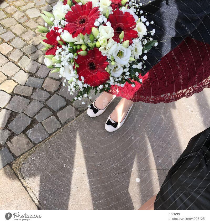 rote und weiße Blumen am Hochzeitstag rote Blume Blüte Feste & Feiern Vogelperspektive Dekoration & Verzierung Blumenstrauß Hochzeit da Pflanze Valentinstag