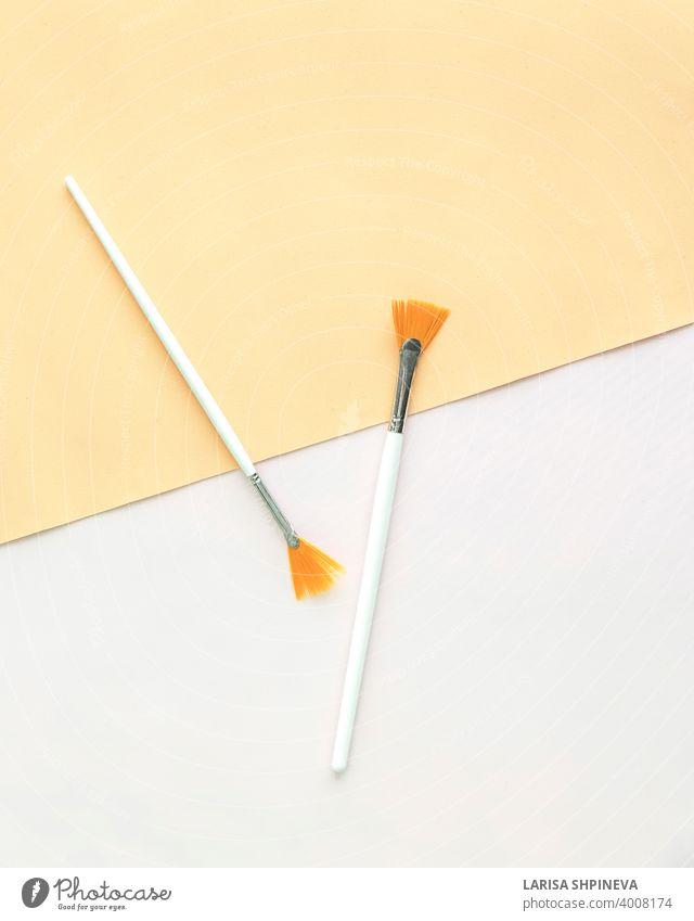 Komposition von Gesicht Pinsel auf hellem Hintergrund. Puderpinsel-Set. Kosmetika für Make-up. Flachlage, Ansicht von oben Bürste Mode Schönheit Kulisse Pulver