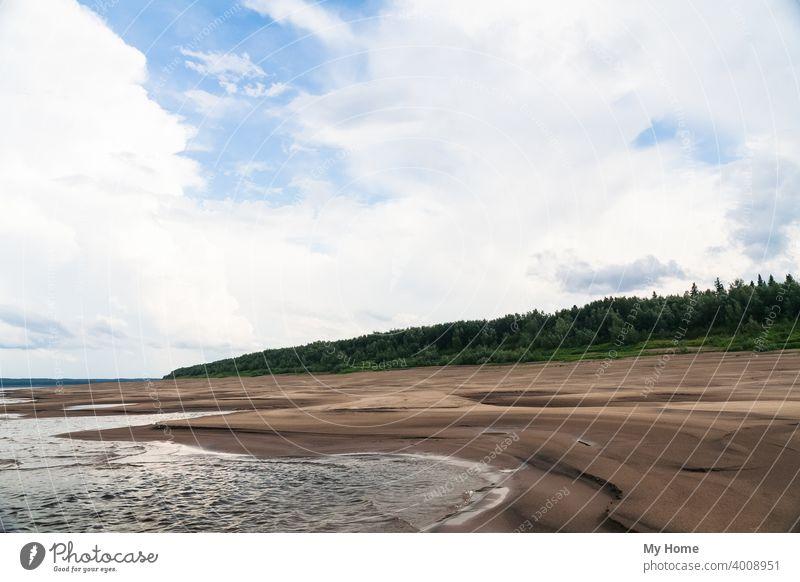 Das sandige Ufer des Flusses Jenissei. Nördlich des Krasnojarsker Territoriums Strand blau Wolken Wald Grün Landschaft Natur Felsen Sand Sibirien Himmel Stein