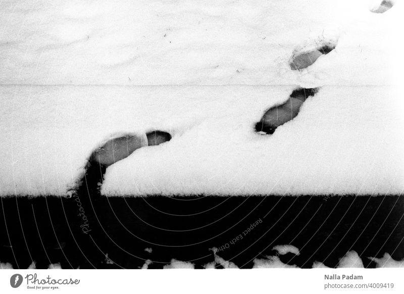 Fußspuren im Schnee analog Analogfoto Schwarzweißfoto schwarzweiß Spur Fußabdruck Winter Abgrund Ende Mauer Schritt kalt Außenaufnahme Blick zurück Beweis glatt