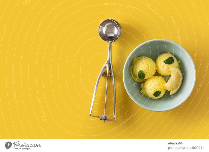 Zitroneneiskugel, dekoriert mit Minzblättern in Schale blau Schalen & Schüsseln kalt cremig Molkerei lecker Dessert Lebensmittel frieren Speiseeis eisbedeckt