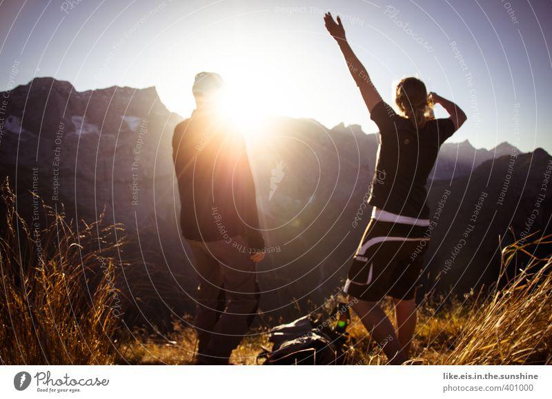 herrlich so ein gipfel-radler Mensch Natur Jugendliche Ferien & Urlaub & Reisen Sommer Erholung Landschaft Junge Frau Freude Ferne Junger Mann Berge u. Gebirge