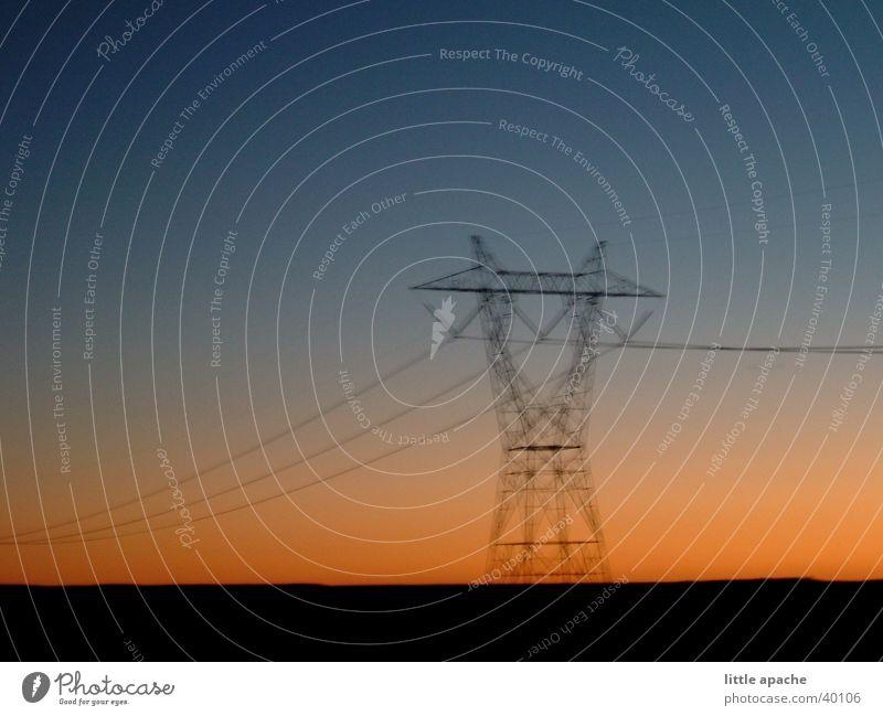 the skid Sonnenuntergang Telefonmast Unschärfe Arizona Elektrizität Strommast Gestell Elektrisches Gerät Technik & Technologie USA Leitung Himmel