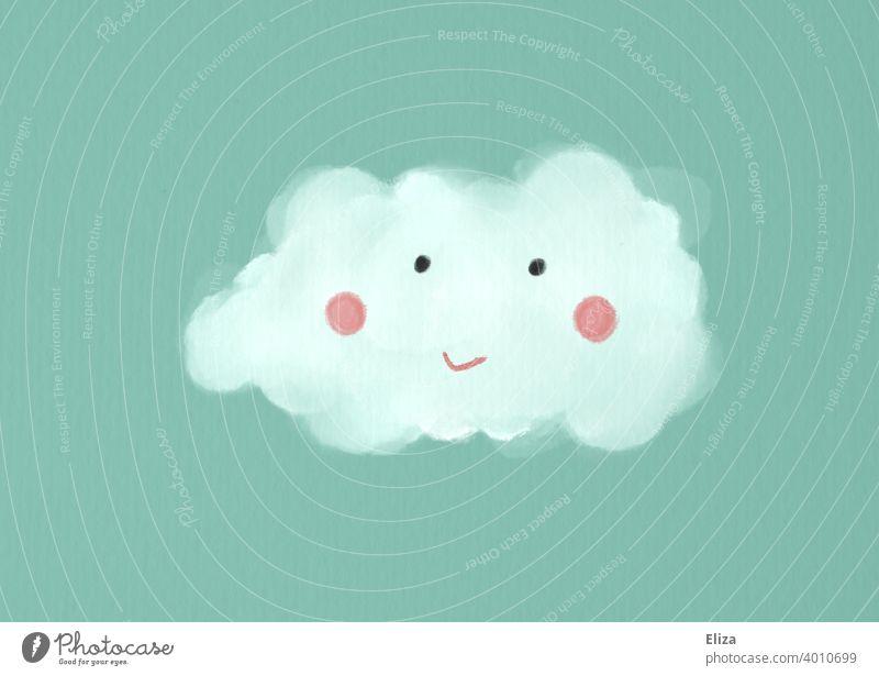 Illustration: Wolke mit niedlichem lächelnden Gesicht auf türkisem Hintergrund Niedlich Himmel weiß blau freundlich gemalt Zeichnung Grafik u. Illustration