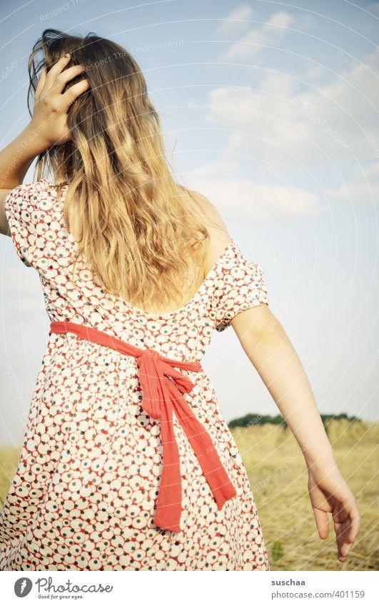 mädchen VI feminin Kind Mädchen Junge Frau Jugendliche Kindheit Kopf Haare & Frisuren Rücken Arme 8-13 Jahre Umwelt Natur Landschaft Himmel Sommer Klima Wetter