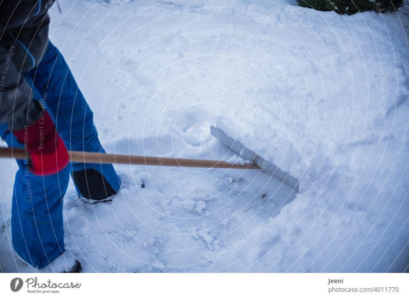 Schneeschieber bei der Arbeit schneeschieber Winter kalt weiß Eis Frost gefroren Schneesturm Schneegestöber Arbeiter Hand Kraft anstrengen frieren Natur Mensch