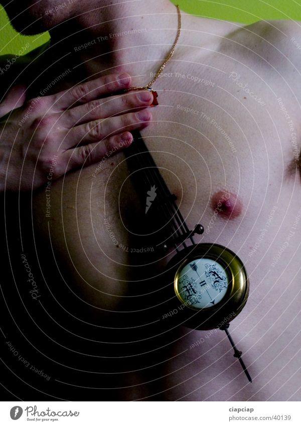 Akt Mann Körper Zeit Uhr