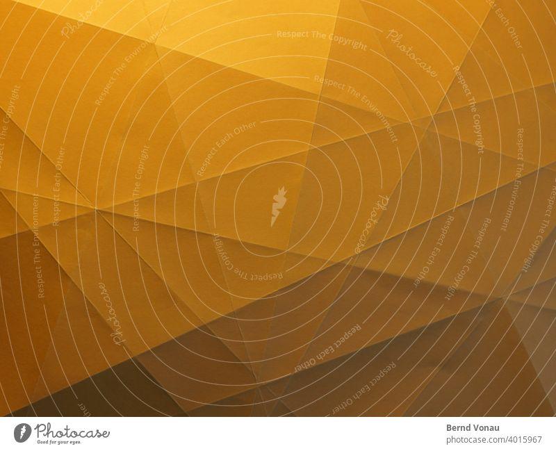 LowPoly lowpoly 3D polygon Papier paperart Schatten falten Basteln Lichtspiel handgemacht durcheinander Unordnung kreativ Kreativität Unterteilung Linien orange