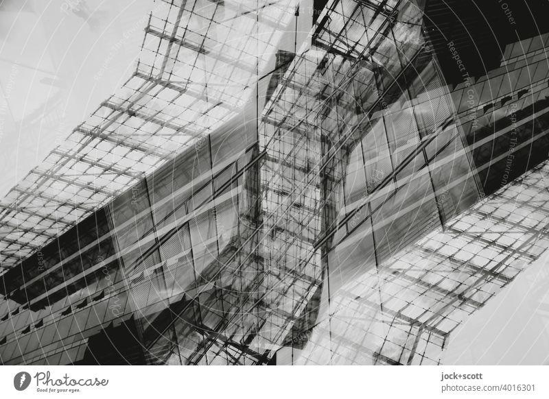 Abstrakte Architektur Linie streben Glasfassade Moderne Architektur Gebäude Strukturen & Formen Doppelbelichtung Reaktionen u. Effekte Design abstrakt