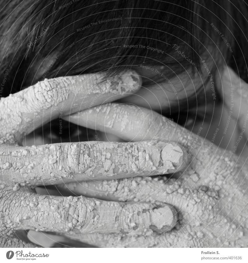 Mysterious guy Mensch Jugendliche Hand Erwachsene Junger Mann Auge 18-30 Jahre Haare & Frisuren Angst maskulin dreckig Finger beobachten geheimnisvoll