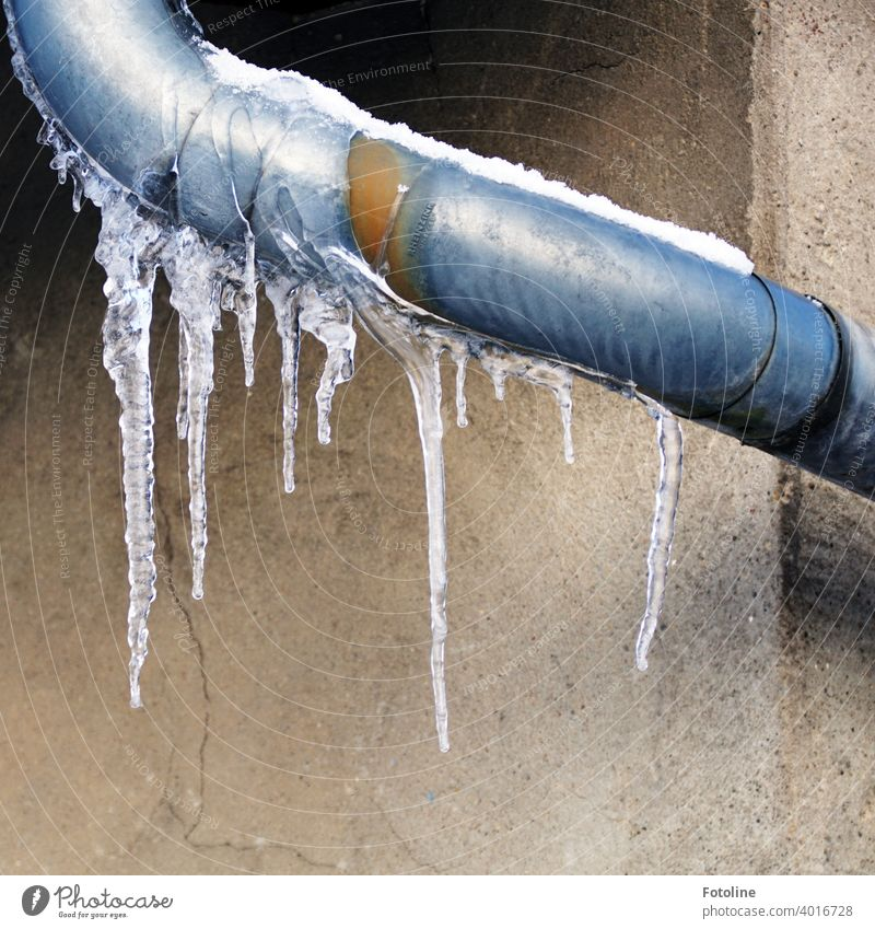 Eiszapfen an einer Regenrinne vor einer Hauswand Winter kalt gefroren Frost blau weiß Wasser frieren Außenaufnahme Farbfoto Menschenleer Tag Himmel Nahaufnahme