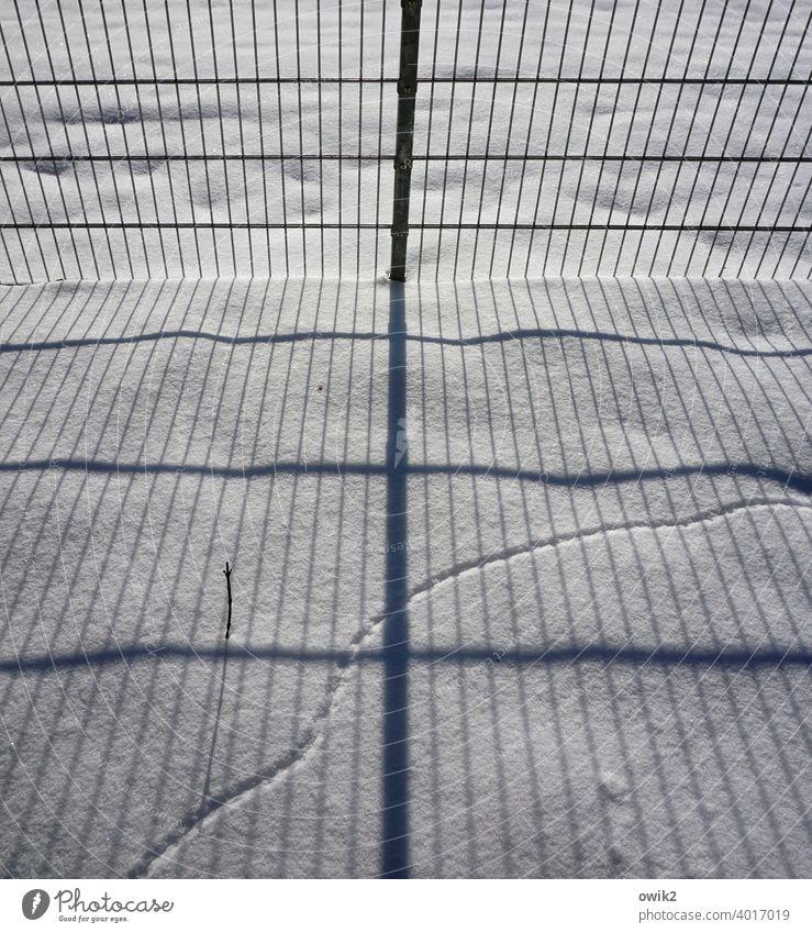 Eine Frage der Berechnung Schnee Schneedecke Zaun Gitter Metall Begrenzung Grundstücksgrenze Barriere Sonnenlicht Schatten komplex Parallelen Kurve Spur
