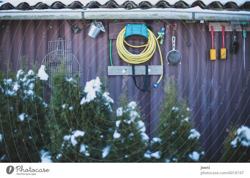 Viele nützliche Utensilien für die Arbeit im Garten utensilien Gartenarbeit Schuppen Gartenhaus Gartenlaube Schrebergarten Freizeit & Hobby Hütte Wand Wellblech