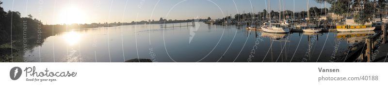 Hafen Wasserfahrzeug Panorama (Aussicht) Sonne Himmel groß Panorama (Bildformat)