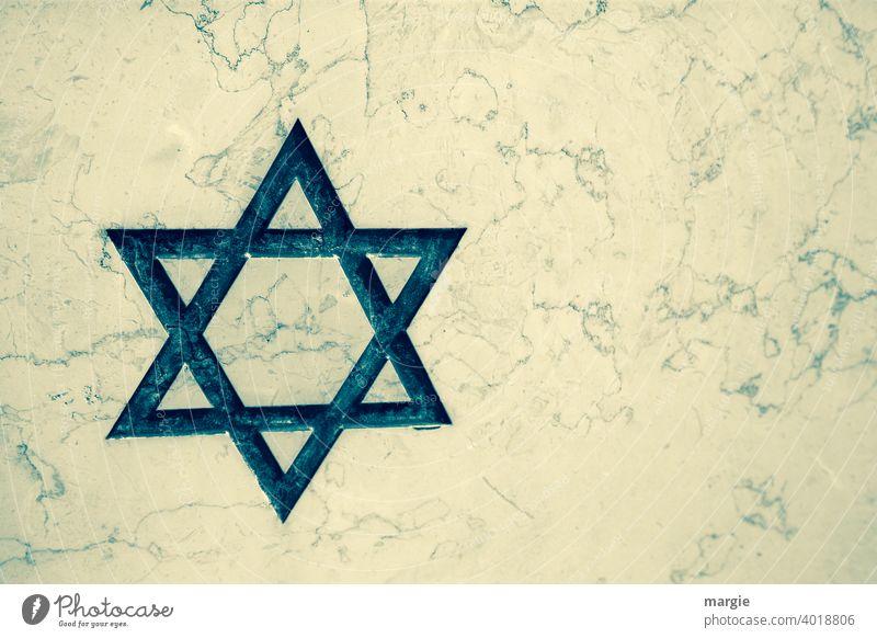 Davidstern auf weißem Marmor Stern (Symbol) Religion & Glaube Kirche Judentum Christentum Grabstein heilig Symbole & Metaphern Spiritualität Judenstern Gebet