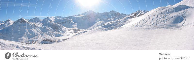 Bergwelt Panorama (Aussicht) Winter Berge u. Gebirge Schnee Sonne groß Panorama (Bildformat)