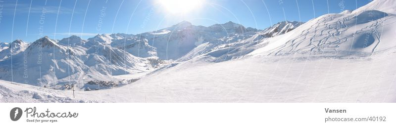 Bergwelt Sonne Winter Schnee Berge u. Gebirge groß Panorama (Bildformat)