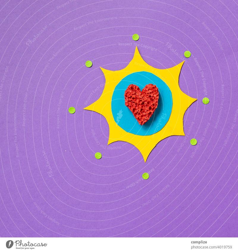 Knalliges Herz - Papierschnitt herzform herzförmig Valentinstag Valentinskarte Scherenschnitt Kreativität kreativ bunt knallig knallige farben Comic Liebe