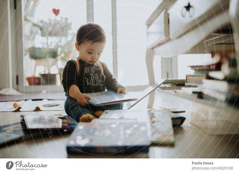 Kleinkind spielt mit Büchern zu Hause 1-3 Jahre Kaukasier lesen Bildung Kindergarten Kindheit Familie & Verwandtschaft Glück Freude Spielen Lifestyle Farbfoto