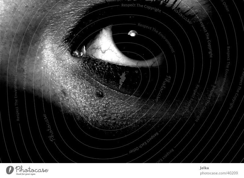 Auge Gesicht feminin Frau Erwachsene 18-30 Jahre Jugendliche dunkel schwarz weiß Wimpern face eye eyes Schwarzweißfoto Studioaufnahme Textfreiraum unten