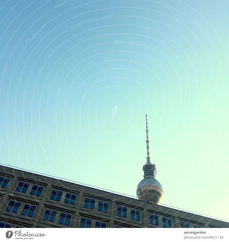 Grüße nach Berlin! Berliner Fernsehturm Sightseeing Tourismus Tourist Hauptstadt Sehenswürdigkeit Architektur Blickwinkel Froschperspektive minimalistisch