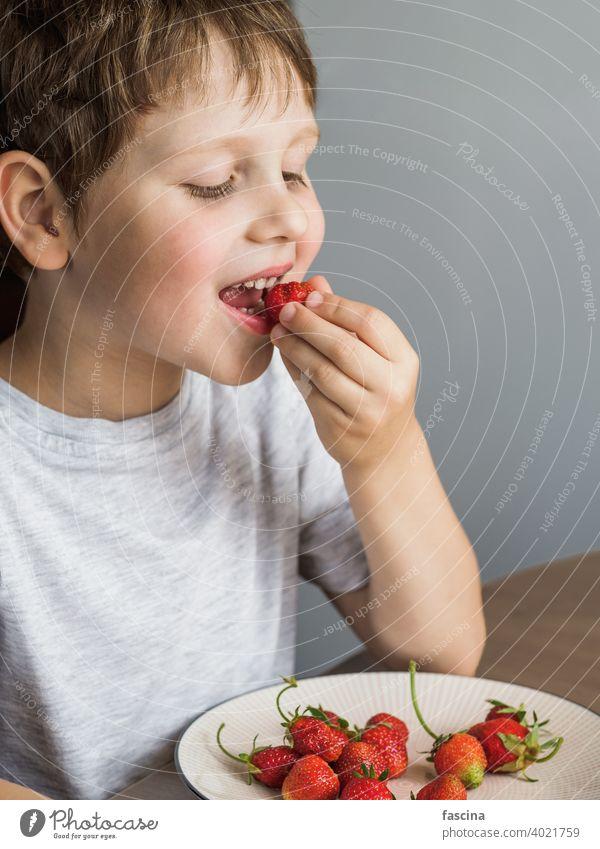 Kleiner Junge isst frische Bio-Erdbeere mit Relish Erdbeeren essen Kind Glück Lächeln blanko Holzplatte Nachricht Papier Schot Raum weiß Halt Person Kaukasier