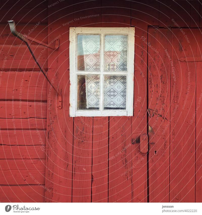 Fenster an einem roten Schwedenhaus Holzhaus Holzfassade schwedenrot Schwedisch Skandinavien skandinavisch Haus Fassade Gardine Sprossenfenster weiß verwittert