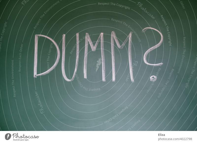 Dumm? - Frage auf Tafel geschrieben ungebildet Bildung bildungsfern nicht verstehen ratlos Irritation Wort Beleidigung benachteiligt geistlos dämlich blöd