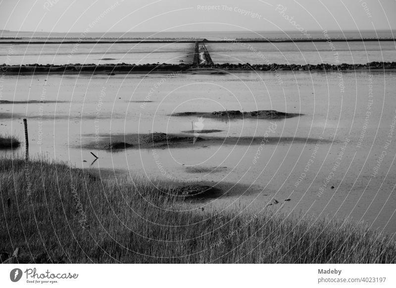 Das Weltkulturerbe Wattenmeer in Bensersiel bei Esens in Ostfriesland an der Küste der Nordsee, fotografiert in klassischem Schwarzweiß Nordseeküste Landschaft