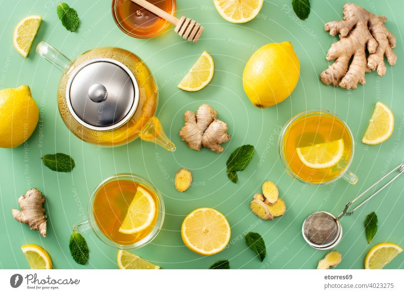 Ingwertee mit Zitrone und Honig Aroma asiatisch Getränk Zitrusfrüchte Tasse lecker trinken Geschmack frisch Frucht Glas grün Gesundheit Liebling heiß