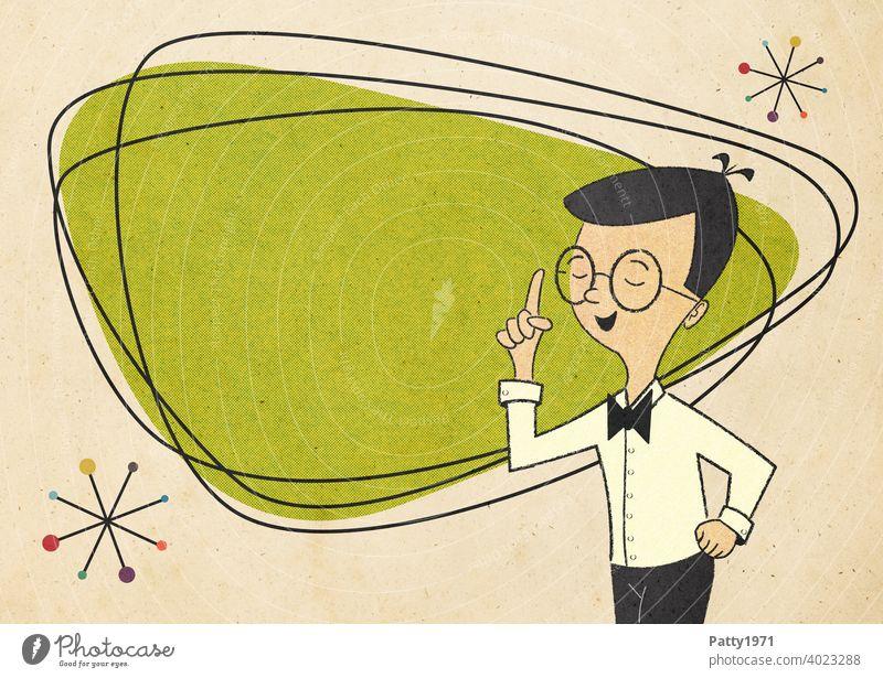 Mann/Lehrer im Stil der 50er,60er mit Brille steht mit erhobenem Zeigefinger vor einer grünen Fläche mit Platz für Text Mid Century Cartoon Comic