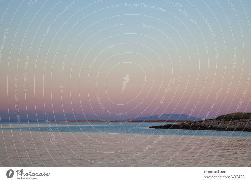 Kroatien in pastell Ferien & Urlaub & Reisen Tourismus Ferne Sommer Sonne Meer Insel Wellen Landschaft Wasser Wolkenloser Himmel Horizont Schönes Wetter Wärme