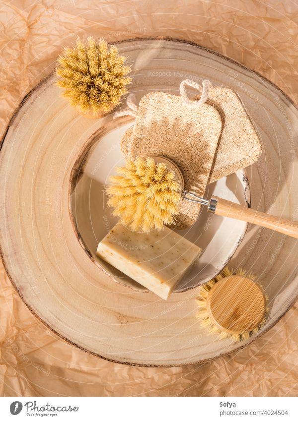 Zero Waste Geschirrspülen Küche Haus Öko-Reinigungsmittel null Abfall nachhaltig Speise Waschen Bürste Loofah Seife Reinigen heimwärts natürlich Holz freundlich