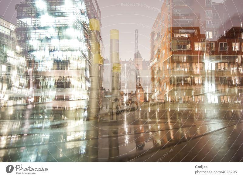 Langzeitbelichtung von Gebäuden mit Zoomeffekt Hamburg Hafen Haus verschwommener hintergrund background Licht Abend Fenster Metall Industrie Architektur