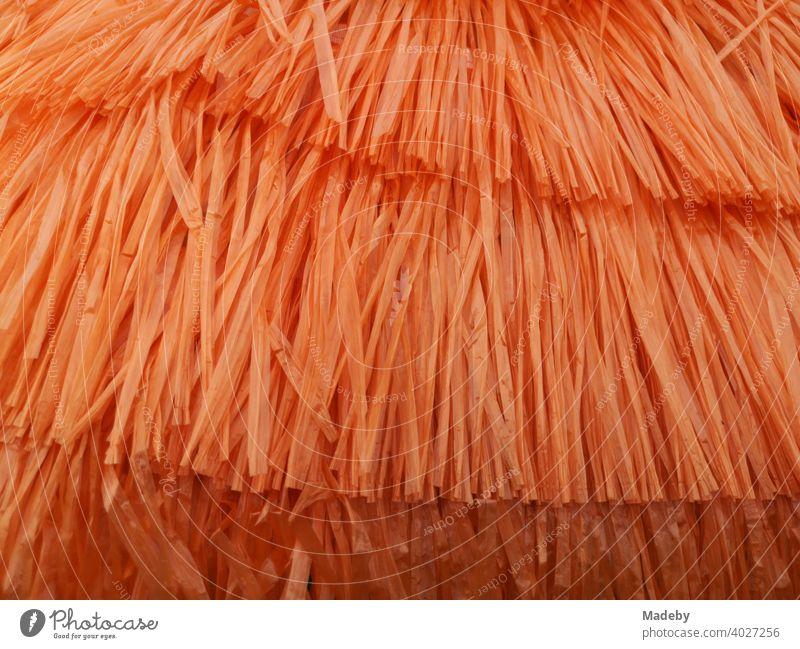 Bastrock in leuchtendem Orange auf dem Flohmarkt bei den Golden Oldies in Wettenberg Krofdorf-Gleiberg bei Gießen in Hessen, Deutschland Baströckchen Rock