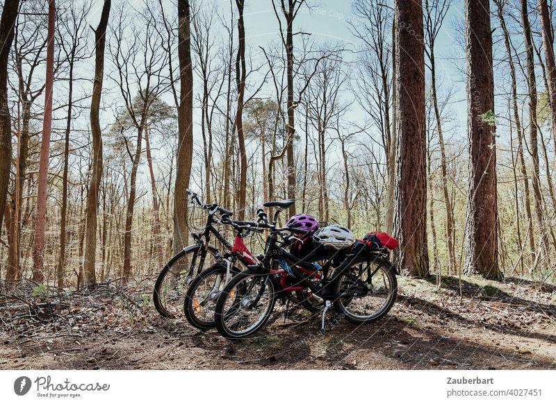 Fahrräder mit Fahrradhelmen bei Radtour im Wald Fahrradfahren Fahrradtour Kinderfahrrad Familie Sonne Ausflug Wochenende Freizeit & Hobby